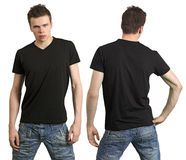 Teenager with blank black shirt stock image