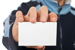 Teenager with a blank card Stock Photo