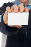 Teenager with a blank card Royalty Free Stock Photo