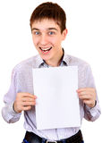 Teenager with Blank Paper Stock Photos