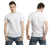 Teenager with blank white shirt Royalty Free Stock Image