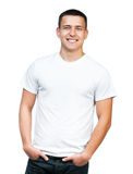 Teenager With Blank White Shirt Royalty Free Stock Photography