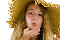 Teenager blowing a kiss stock images