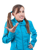 Teenager in blue jacket. Young woman in blue jacket isolated over white stock photography
