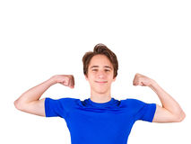 Teenager in blue T-shirt, isolated on white background. Young man portrait Royalty Free Stock Image
