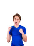 Teenager in blue T-shirt, isolated on white background Stock Photo