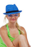 Teenager in a blut hat Stock Photography