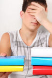 Teenager with the Books. Sad Student with the Books Isolated on the White Background Stock Photography