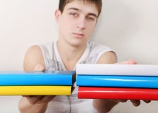 Teenager with the Books. Serious Student with the Books. Focus on the Books Stock Photography