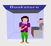 Teenager at bookstore. Illustration of a teenager at bookstore Stock Photos