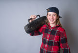 Teenager with Boom Box Radio Stock Photos