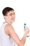 Teenager with Bottle of Water Royalty Free Stock Photo