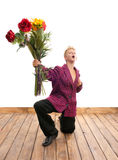 Teenager with bouquet Royalty Free Stock Images