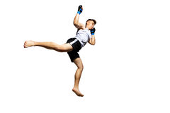 Teenager boxing in studio. Royalty Free Stock Image