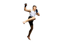 Teenager boxing in studio. Royalty Free Stock Photography