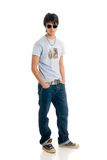 Teenager boy. Handsome teenager boy, casual dressed, hip hop culture.  Studio shot, white background Stock Photos