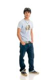 Teenager boy. Handsome teenager boy, casual dressed, wearing sunglasses, hip hop culture.  Studio shot, white background Stock Photos
