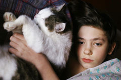 Teenager boy in bed with cat cullde. Close up photo Royalty Free Stock Photo