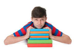 Teenager boy with books Stock Photo