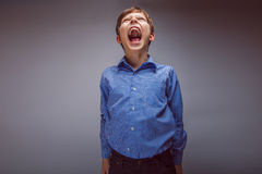 Teenager boy brown hair European appearance. Screams mouth wide open on a gray background Royalty Free Stock Image