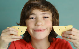Teenager boy with cheese smile Royalty Free Stock Images