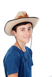 Teenager boy with a cowboy hat. Isolated on a white background stock photo