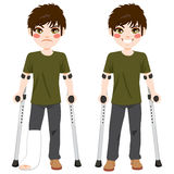 Teenager Boy crutches. Boy with sad expression and broken leg walking with crutches then happy after recovery Royalty Free Stock Images