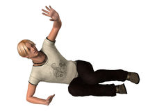 Teenager Boy. 3D digital render of a teenager boy laying on a ground and defending himself isolated on white background Stock Photo