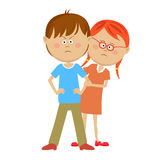 Teenager boy defending his girlfriend from someone. Over white background Stock Photo