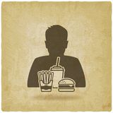 Teenager boy with fast food vintage background. Vector illustration - eps 10 Stock Photos