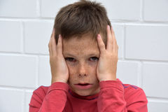 Teenager boy in fear. Weeping  teenager boy ridden by fears Royalty Free Stock Photos
