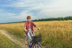 Teenager boy during his trip on country road Royalty Free Stock Photo