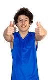 Teenager boy holds his thumbs up Stock Photos