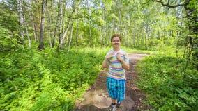 Teenager Boy Jogging in Park stock video