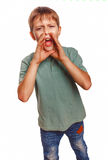 Teenager boy kids calling cries shouts opened his Royalty Free Stock Image