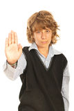 Teenager boy showing stop hand. Gesture isolated on white background Royalty Free Stock Photos