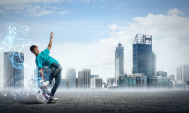 Teenager boy on skate Royalty Free Stock Images