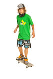 Teenager boy on skateboard Stock Photos
