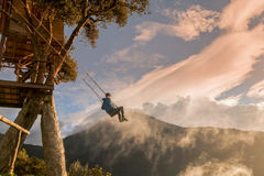 Teenager Boy Is Taking A Ride On The Wildest Swing In The World Royalty Free Stock Photos