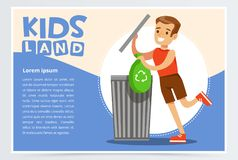 Card with boy hangs clothes in the closet. Kid doing a home cleanup, household chores. Teenager cleaning his room. Flat Royalty Free Stock Images
