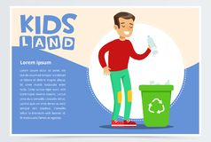 Teenager boy throwing away plastic bottle in waste container with recycling symbol. Creative blue card. Colorful flat Stock Images
