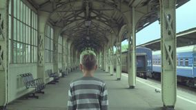Teenager Boy At Train Station stock footage