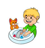 Teenager boy washing his hands royalty free illustration