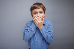 Teenager boy 10 years of European appearance brown Stock Photo
