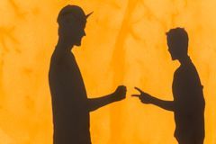 Teenagers Game Rock Scissors Shadow Wall Royalty Free Stock Photography
