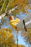 Teenager bungee jumping Stock Image