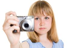A teenager with a camera Royalty Free Stock Photography