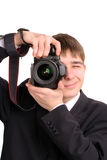 Teenager with camera Stock Images