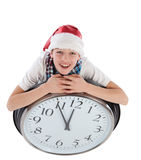 Teenager in cap of Santa Claus, isolation Royalty Free Stock Images