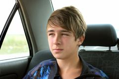 Teenager in the car Stock Photography